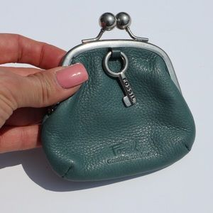 Fossil coin purse teal genuine leather